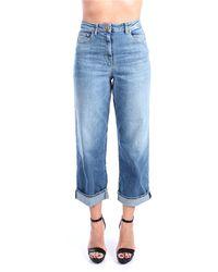 Elisabetta Franchi Pj70i11e2 jeans cropped vita alta - Blu