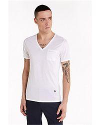Patrizia Pepe 5m1254/at23 t-shirt con scollo a v in cotone e lyocell taschino logo fly - Nero