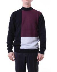 Karl Lagerfeld Jersey de cuello alto negro y burdeos - Morado