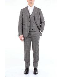Gabriele Pasini Robe en laine avec motif prince de galles - Gris