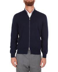 Brunello Cucinelli Cardigan c/zip m/l grigio scuro cy836 - Bleu