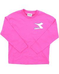 Diadora T-shirt à manches longues de couleur - Rose