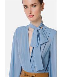 Elisabetta Franchi Camicia in georgette maniche lunghe effetto baloonincrocio sul davanti con apertura a goccia 100%pl - Blu