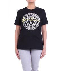 Versace Camiseta de manga corta en blanco y negro con estampado