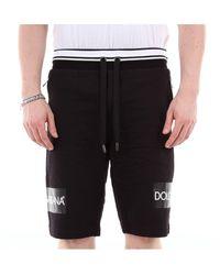 Dolce & Gabbana Shorts De Algodón Jersey Con Estampado - Negro