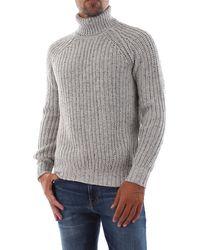 Bomboogie Maglione dolcevita tricot a coste. realizzato in maglia mélange misto cotone - Neutre