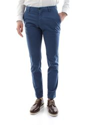 Mason's Pantalone chinos modello milano, vestibilità extra slim, retro con due tasche a filetto, realizzato in cotone gaberdine stretch - Bleu