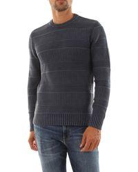 Bomboogie Pullover tricot girocollo. realizzato in maglia 100% cotone, tintura acida - fade effect. motivo a righe verticali e orizzontali - Bleu