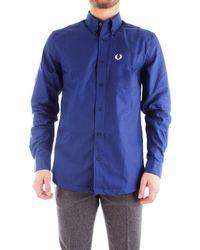 Fred Perry M7550 camicia button-down in cotone oxford - Azul