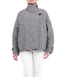Erika Cavallini Semi Couture Manteau court croisé noir et blanc - Multicolore
