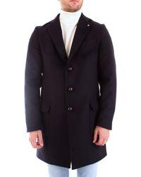 Roberto Pepe Roberto p. mm1pid cappotto con revers e tasche - Blu