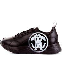 Roberto Cavalli 3272a sneakers snake in pelle con maxi para - Nero