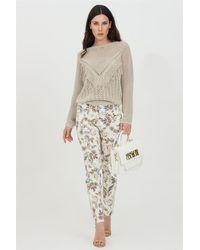 Liu Jo Pantaloni donna casual, modello skinny con stampa flower e strass. vita alta passanti per cintura - Multicolore