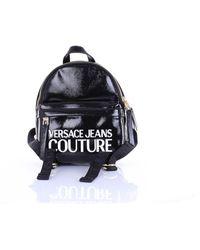 Versace Jeans Couture Mochila negra de charol - Negro