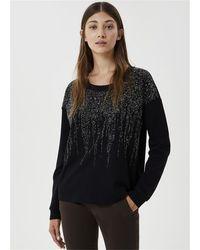 Liu Jo Felpa girocollo realizzata con filati in puro cotone e applicazioni gioiello sul davanti 100%co - Noir