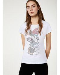Liu Jo T-shirt a maniche corte realizzata con filati in puro cotone stampa walt disney e strass applicazione 100%co - Bianco