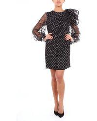 Alberta Ferretti Vestido corto de dos tonos con manga larga - Negro