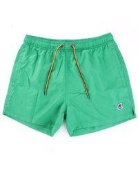 K-Way Hazel k0088g0 costume shorts con coulisse e logo applicato - Verde