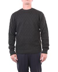 Heritage Suéter con cuello redondo en verde bosque - Gris