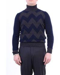Gran Sasso Jersey de cuello alto azul y gris