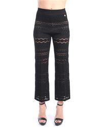 Twin Set 211tt3022 pantalone in filo traforato - Nero