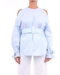 Erika Cavallini Semi Couture Maillot de manga larga celeste - Azul