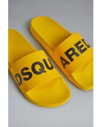 DSquared² Pantoletten mit Logo-Print - Gelb