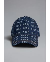 DSquared² Men's Icon Dsq2 Printed Denim Baseball Cap - Blue