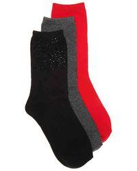 Steve Madden - Rhinestone Crew Socks - Lyst
