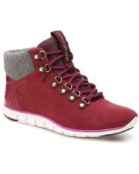 Cole Haan Zerogrand Leather & Wool Hiker Boots - Red