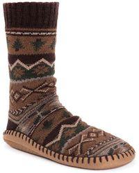 Muk Luks Sock Slipper - Brown
