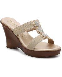 Italian Shoemakers Melony Wedge Sandal - Metallic