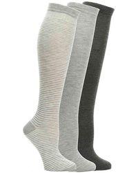 Nine West Striped Knee Socks - Gray