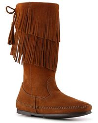 Minnetonka - Calf Hi 2 Layer Fringe Western Boot - Lyst