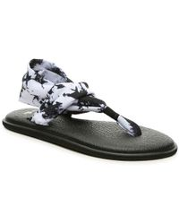 13e6dd05edd85a Lyst - Tory Burch Thadine Tie-Dye Wedge Flip-Flop in Black