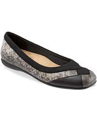 Trotters Sharp Snake Print Ballerina Flats - Black