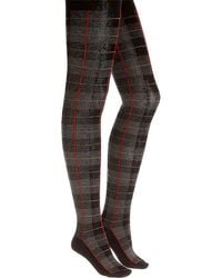 Memoi - Plaid Sweater Tights - Lyst