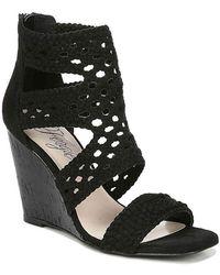 Fergie Rebekah Basketweave Wedge Sandals - Black