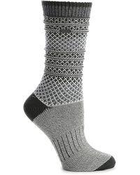 Sorel Textured Stripe Crew Socks - Gray