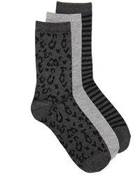 Kelly & Katie Leopard Crew Socks - Gray