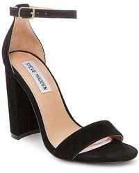 Steve Madden Carrson Suede Chunky-Heel Sandals  - Black