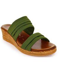 Italian Shoemakers Mady Wedge Sandal - Green