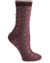 Sorel Cable Knit Crew Socks - Purple
