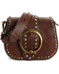 Polo Ralph Lauren Studded Lennox Leather Crossbody Bag - Brown