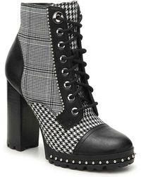 ALDO - Marille Menswear Inspired Plaid Houndstooth Block Heel Lace Up Booties - Lyst