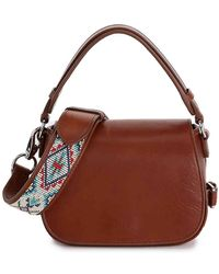 Polo Ralph Lauren Beaded Leather Crossbody Bag - Brown