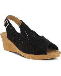 Spring Step Trikala Wedge Sandal - Black