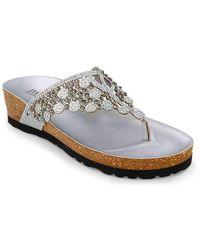Italian Shoemakers Malena Wedge Sandal - Metallic