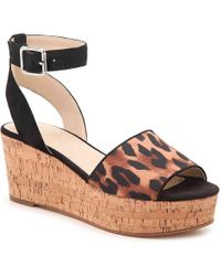 12516ee3e9 Marc Fisher Hayo Wedge Sandal in Black - Lyst