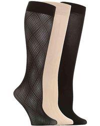 Anne Klein Textured Trouser Socks - Black